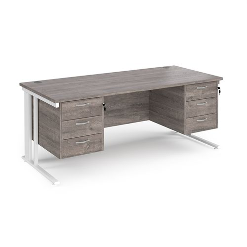 Maestro 25 straight desk 1800mm x 800mm with two x 3 drawer pedestals - white cable managed leg frame and grey oak top
