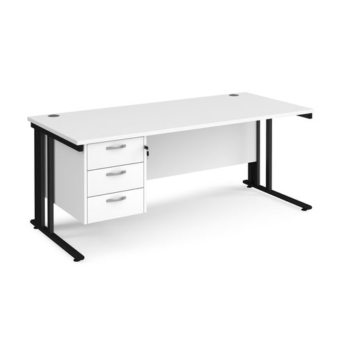 Maestro 25 straight desk 1800mm x 800mm with 3 drawer pedestal - black cable managed leg frame and white top