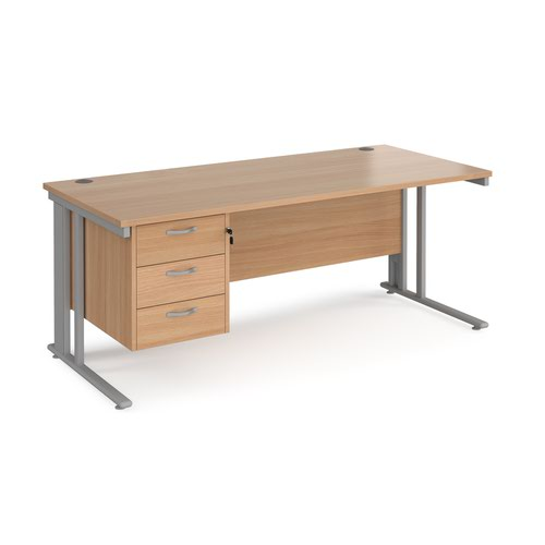 Maestro 25 straight desk 1800mm x 800mm with 3 drawer pedestal - silver cable managed leg frame and beech top