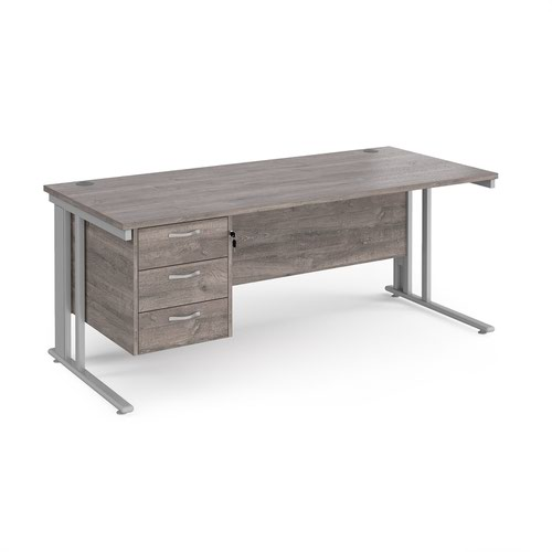 Maestro 25 straight desk 1800mm x 800mm with 3 drawer pedestal - silver cable managed leg frame and grey oak top