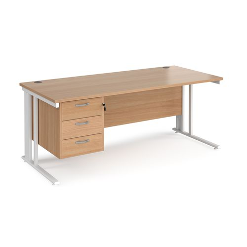 Maestro 25 straight desk 1800mm x 800mm with 3 drawer pedestal - white cable managed leg frame and beech top