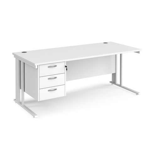 Maestro 25 straight desk 1800mm x 800mm with 3 drawer pedestal - white cable managed leg frame and white top