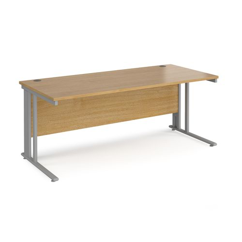 Maestro 25 straight desk 1800mm x 800mm - silver cable managed leg frame and oak top
