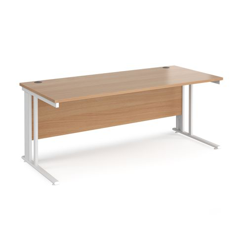 Maestro 25 straight desk 1800mm x 800mm - white cable managed leg frame and beech top