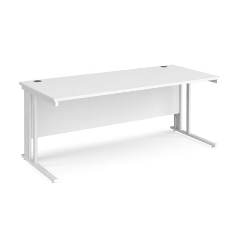 Maestro 25 straight desk 1800mm x 800mm - white cable managed leg frame and white top