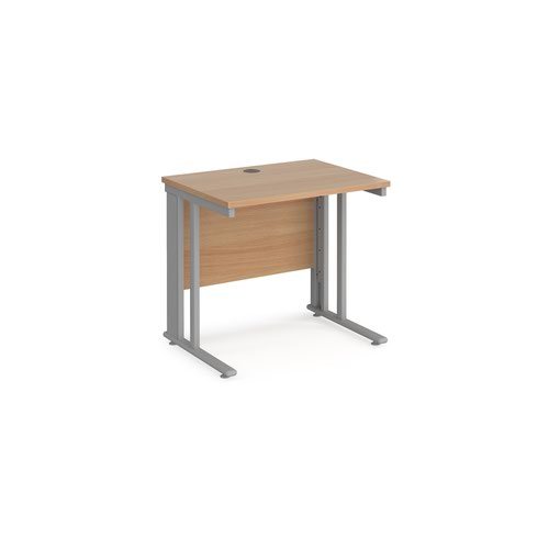 Maestro 25 straight desk 800mm x 600mm - silver cable managed leg frame and beech top
