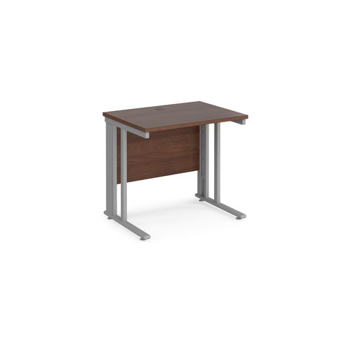 Maestro 25 straight desk 800mm x 600mm - silver cable managed leg frame and walnut top