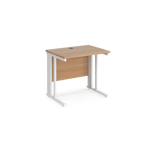 Maestro 25 straight desk 800mm x 600mm - white cable managed leg frame and beech top