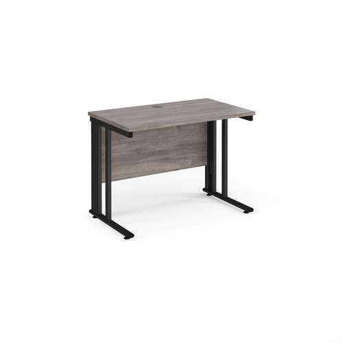 Maestro 25 straight desk 1000mm x 600mm - black cable managed leg frame and grey oak top