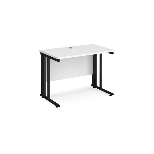 Maestro 25 straight desk 1000mm x 600mm - black cable managed leg frame and white top
