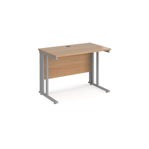 Maestro 25 straight desk 1000mm x 600mm - silver cable managed leg frame and beech top