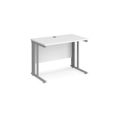 Maestro 25 straight desk 1000mm x 600mm - silver cable managed leg frame and white top
