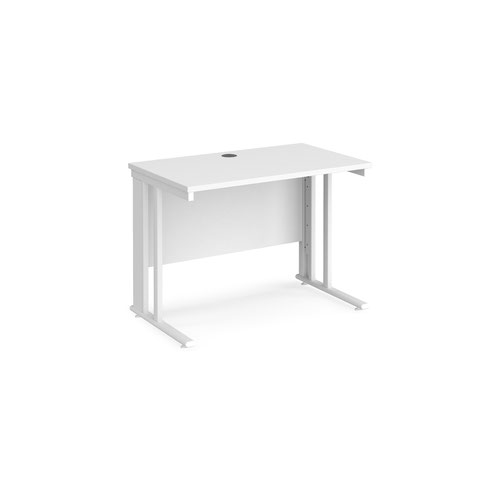 Maestro 25 straight desk 1000mm x 600mm - white cable managed leg frame and white top