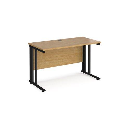 Maestro 25 straight desk 1200mm x 600mm - black cable managed leg frame and oak top | MCM612KO | Dams International