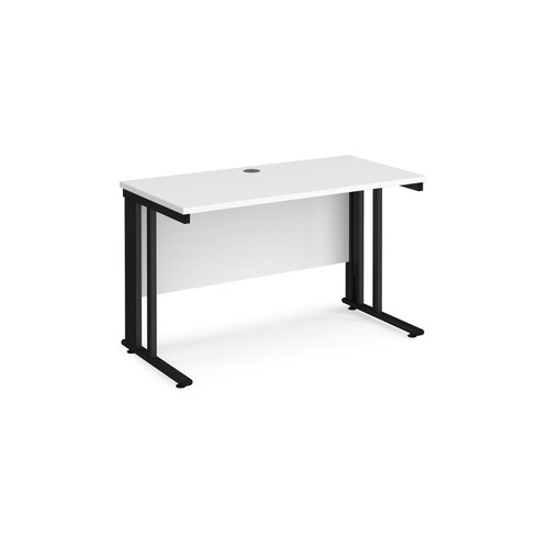 Maestro 25 straight desk 1200mm x 600mm - black cable managed leg frame and white top