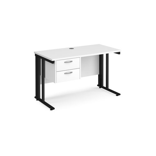 Maestro 25 straight desk 1200mm x 600mm with 2 drawer pedestal - black cable managed leg frame and white top