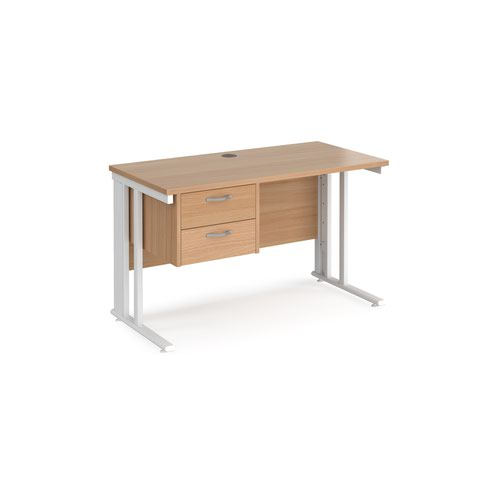 Maestro 25 straight desk 1200mm x 600mm with 2 drawer pedestal - white cable managed leg frame and beech top