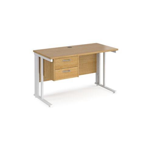 Maestro 25 straight desk 1200mm x 600mm with 2 drawer pedestal - white cable managed leg frame and oak top