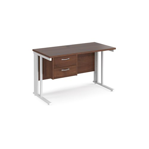 Maestro 25 straight desk 1200mm x 600mm with 2 drawer pedestal - white cable managed leg frame and walnut top