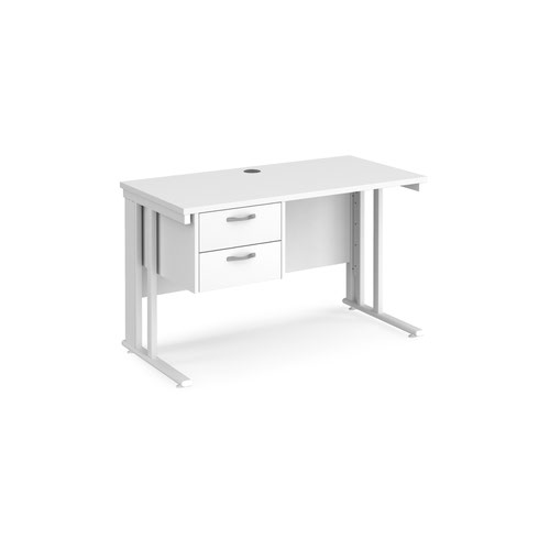 Maestro 25 straight desk 1200mm x 600mm with 2 drawer pedestal - white cable managed leg frame and white top