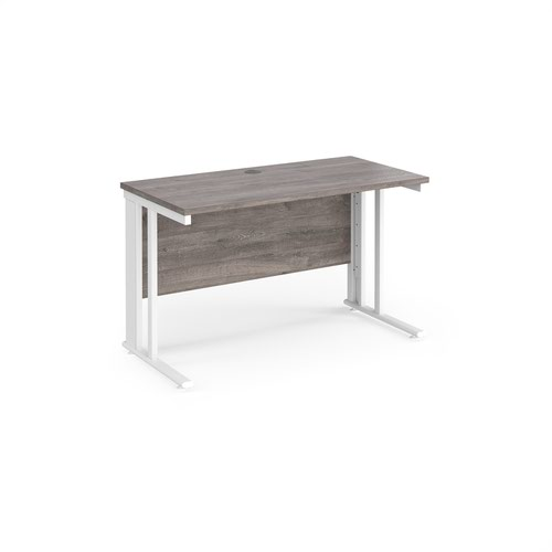 Maestro 25 straight desk 1200mm x 600mm - white cable managed leg frame and grey oak top