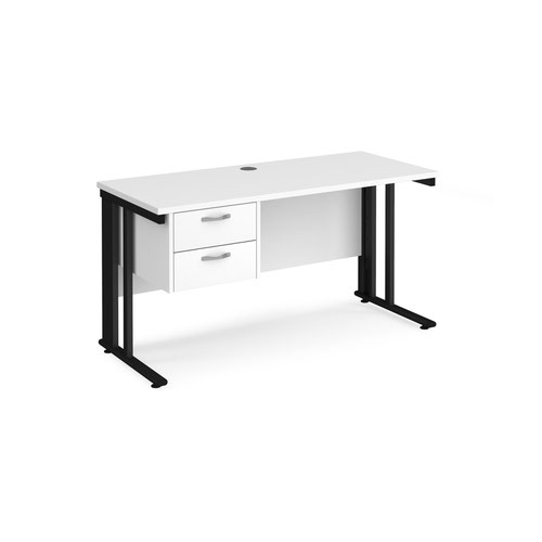 Maestro 25 straight desk 1400mm x 600mm with 2 drawer pedestal - black cable managed leg frame and white top