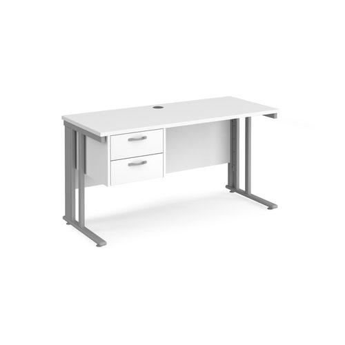 Maestro 25 straight desk 1400mm x 600mm with 2 drawer pedestal - silver cable managed leg frame and white top