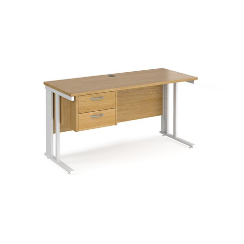 Maestro 25 straight desk 1400mm x 600mm with 2 drawer pedestal - white cable managed leg frame and oak top