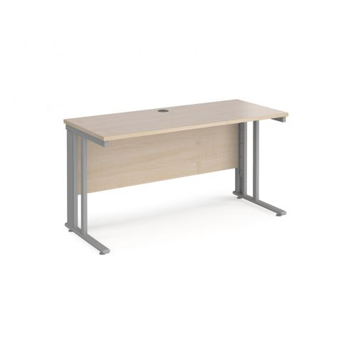 Maestro 25 straight desk 1400mm x 600mm - silver cable managed leg frame and maple top