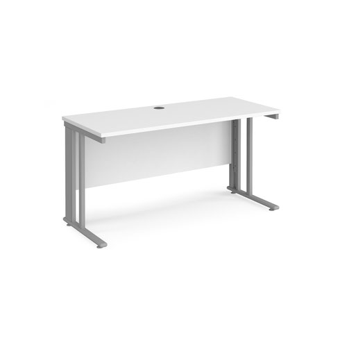 Maestro 25 straight desk 1400mm x 600mm - silver cable managed leg frame and white top