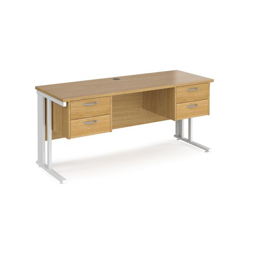 Maestro 25 straight desk 1600mm x 600mm with two x 2 drawer pedestals - white cable managed leg frame and oak top