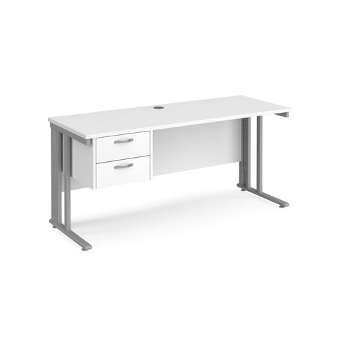 Maestro 25 straight desk 1600mm x 600mm with 2 drawer pedestal - silver cable managed leg frame and white top