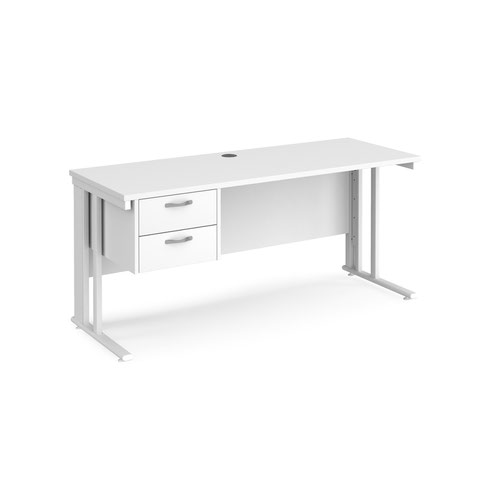 Maestro 25 straight desk 1600mm x 600mm with 2 drawer pedestal - white cable managed leg frame and white top