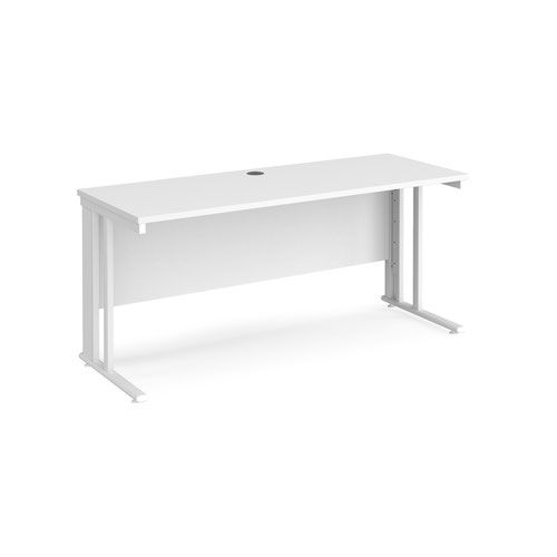 Maestro 25 straight desk 1600mm x 600mm - white cable managed leg frame and white top