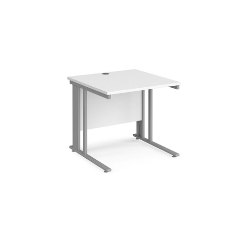 Maestro 25 straight desk 800mm x 800mm - silver cable managed leg frame and white top