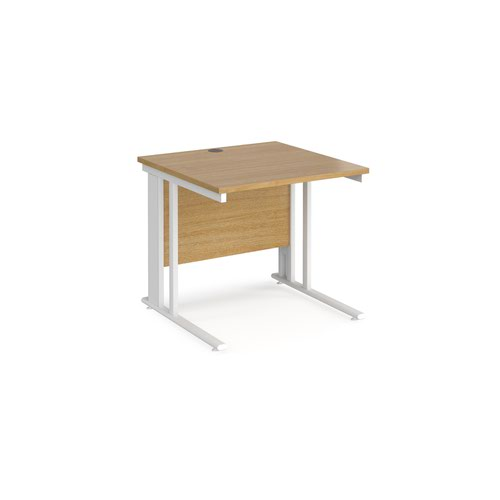 Maestro 25 straight desk 800mm x 800mm - white cable managed leg frame and oak top