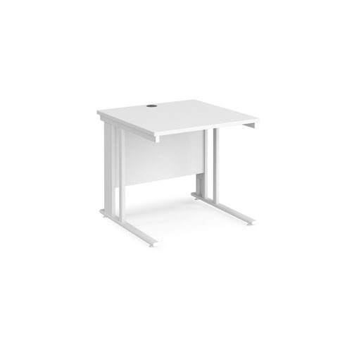 Maestro 25 straight desk 800mm x 800mm - white cable managed leg frame and white top