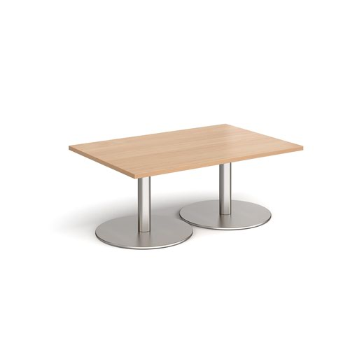 Monza rectangular coffee table with flat round brushed steel bases 1200mm x 800mm - beech