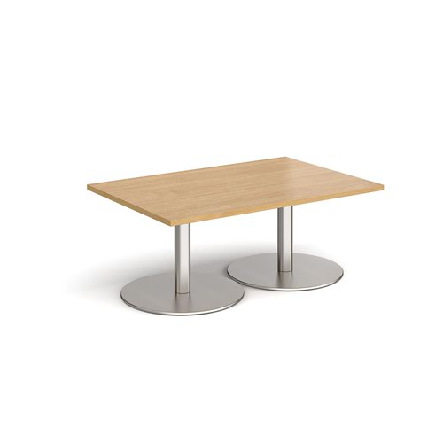 Monza rectangular coffee table with flat round brushed steel bases 1200mm x 800mm - oak