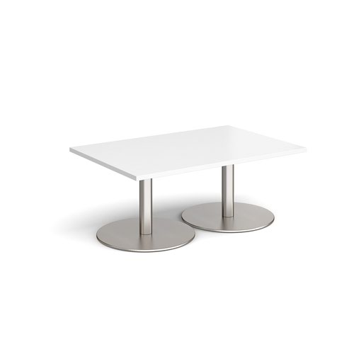 Monza rectangular coffee table with flat round brushed steel bases 1200mm x 800mm - white