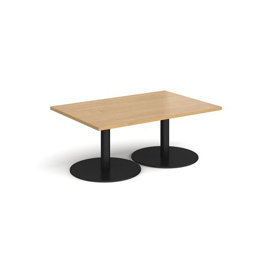 Monza rectangular coffee table with flat round black bases 1200mm x 800mm - oak