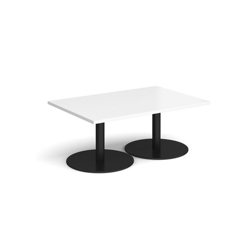 Monza rectangular coffee table with flat round black bases 1200mm x 800mm - white