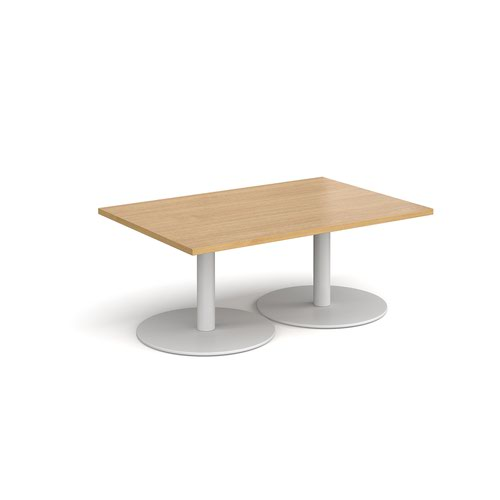 Monza rectangular coffee table with flat round white bases 1200mm x 800mm - oak
