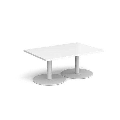 Monza rectangular coffee table with flat round white bases 1200mm x 800mm - white