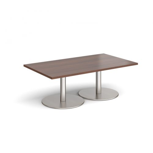 Monza rectangular coffee table with flat round brushed steel bases 1400mm x 800mm - walnut