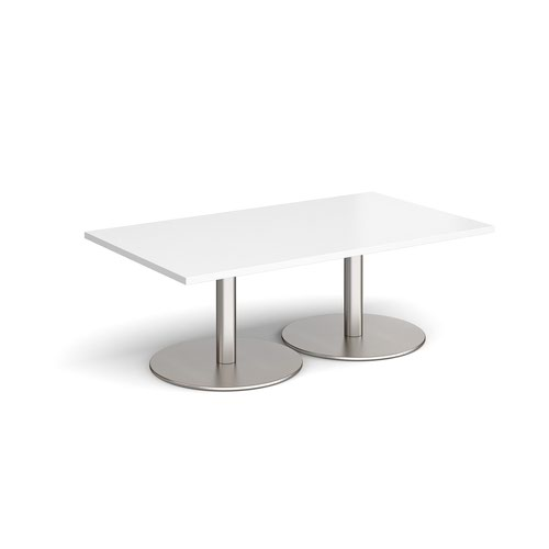 Monza rectangular coffee table with flat round brushed steel bases 1400mm x 800mm - white