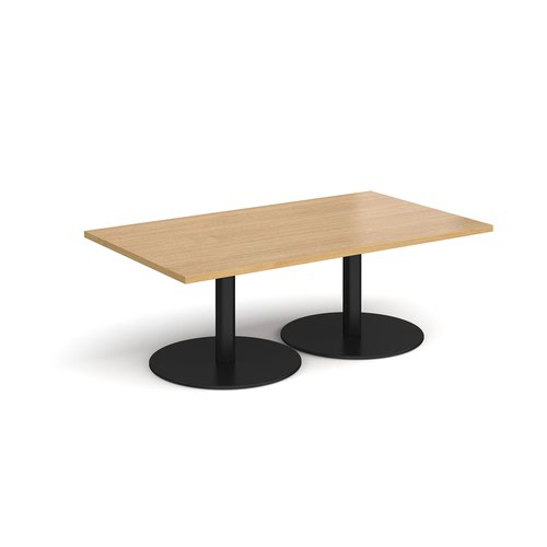 Monza rectangular coffee table with flat round black bases 1400mm x 800mm - oak