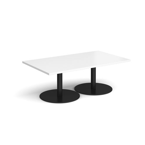 Monza Rectangular Coffee Table With Flat Round Black Bases 1400mm