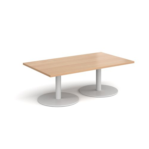 Monza rectangular coffee table with flat round white bases 1400mm x 800mm - beech