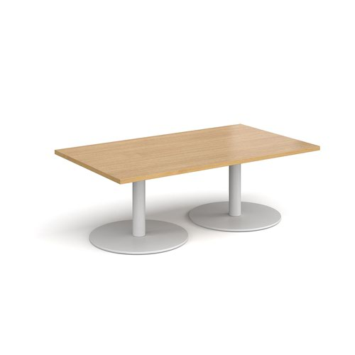 Monza rectangular coffee table with flat round white bases 1400mm x 800mm - oak